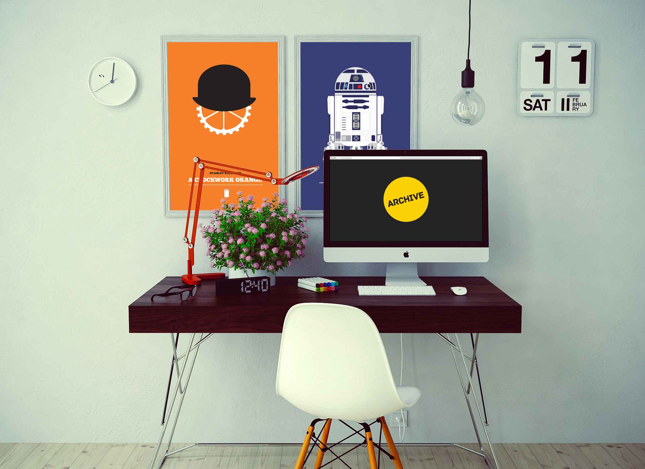 a clockwork orange and r2d2 star wars movie posters for sale